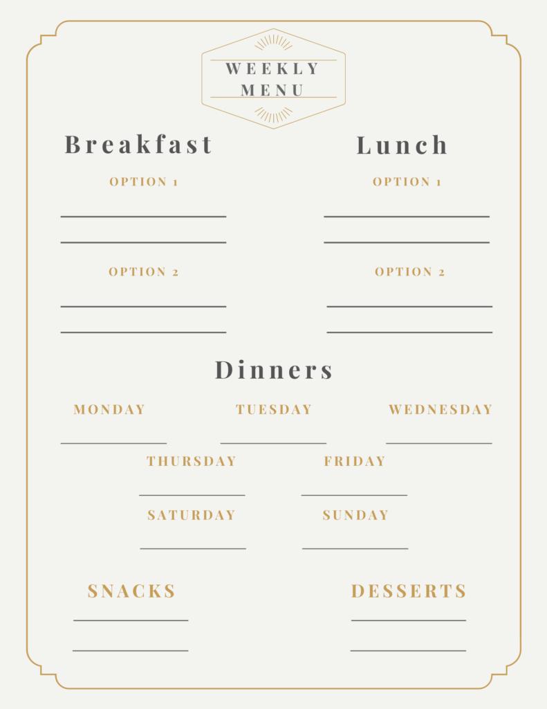 Meal Plan Templates
